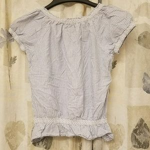 SO Tops - Cute blue and white striped peasant top